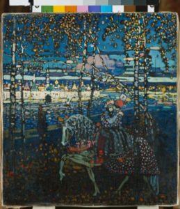 Kandinsky, Vassily. Couple à cheval. 1907. Peinture. Munich, Städtische Galerie im Lenbachhaus.