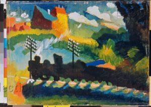 Kandinsky, Vassily. Train à Murnau. 1909. Peinture. Munich, Städtische Galerie im Lenbachhaus.