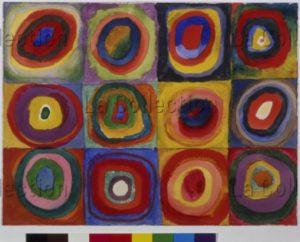 Kandinsky, Vassily. Farbstudie (Etude de couleurs). 1913. Dessin. Munich. Städtische Galerie im Lenbachhaus.