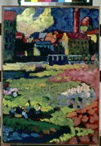 Kandinsky, Vassily. Faubourg (Munich). 1908. Peinture. Munich. Städtische Galerie im Lenbachhaus.