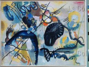 Kandinsky, Vassily. Mit schwarzem Fleck (Avec la tache noire). 1912. Peinture. Saint Petersbourg. Musée Russe.