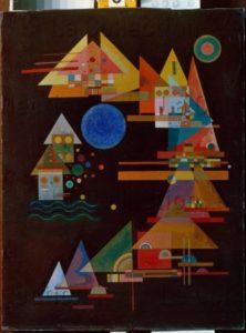 Kandinsky, Vassily. Spitzen im Bogen (Pointes en arc de cercle). 1927. Peinture. Collection particulière.