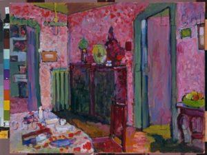 Kandinsky, Vassily. Salon du 36, Ainmillerstrasse. 1909. Peinture. Munich, Städtische Galerie im Lenbachhaus.