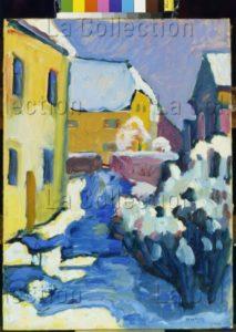 Kandinsky, Vassily. Cimetière et presbytère à Kochel. 1909. Peinture. Munich, Städtische Galerie im Lenbachhaus.