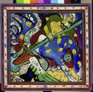 Kandinsky, Vassily. Saint Georges et le dragon I. 1911. Peinture. Munich, Städtische Galerie im Lenbachhaus.
