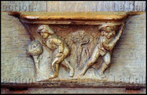 Renaissance. Champeaux. Collégiale St Martin. Stalle. Miséricorde. Falaize, Richard. Femme battue par son mari. 1522. Sculpture.