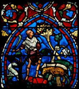 Art gothique. Chartres. Cathédrale Notre Dame. Transept. Verrière de l'Enfant prodigue. L'Enfant prodigue et deux courtisanes. Vers 1205 1215. Vitrail.