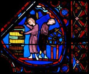 Art gothique. Bourges. Cathédrale St Etienne. Verrière de l'histoire de Joseph. Détail : tonnelier cerclant un fût et un charron. Vers 1210 1215. Vitrail.