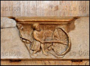 Renaissance. Champeaux. Collégiale St Martin. Stalle. Miséricorde. Falaize, Richard. La Vannerie. 1522. Sculpture.