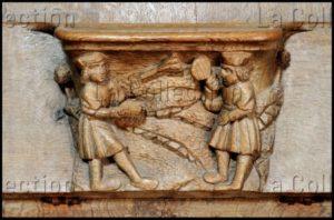 Renaissance. Champeaux. Collégiale St Martin. Stalle. Miséricorde. Falaize, Richard. Joueurs de volant. 1522. Sculpture.