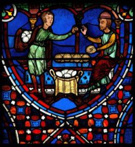 Art gothique. Chartres. Cathédrale Notre Dame. Déambulatoire. Verrière des apôtres. Détail : boulanger vendant des miches de pain à un homme. Vers 1210 1225. Vitrail.