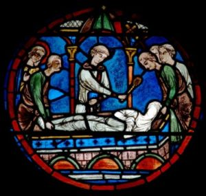 Art gothique. Chartres. Cathédrale Notre Dame. Déambulatoire. Verrière de saint Julien. L'enterrement des parents du saint. Vers 1215 1225. Vitrail.