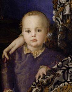 Bronzino. Portrait d'Eléonore de Tolède et de son fils, Jean de Médicis. Détail : Jean. Vers 1545. Peinture. Florence. Musée des Offices.