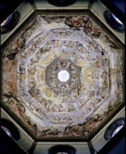Florence. Eglise Sta Maria del Fiore. Coupole. Vasari, Giorgio. Le Jugement Dernier. Vue intérieure générale. 1572 1579. Peinture murale.