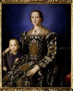 Bronzino. Portrait d'Eléonore de Tolède et de son fils, Jean de Médicis. Vers 1545. Peinture. Florence. Musée des Offices.