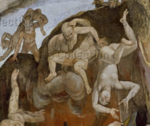 Florence. Eglise Sta Maria del Fiore. Coupole. Vasari, Giorgio. Le Jugement Dernier. Détail : démons poussant des damnés. 1572 1579. Peinture murale.