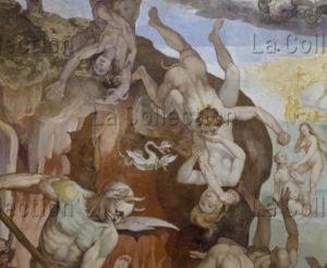 Florence. Eglise Sta Maria del Fiore. Coupole. Vasari, Giorgio. Le Jugement Dernier. Détail : damnés poussés par des démons. 1572 1579. Peinture murale.