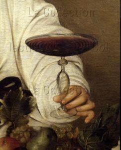 Caravage. Bacchus. Détail : main tenant une coupe. Vers 1598. Peinture. Florence. Musée des Offices.