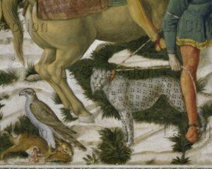 Florence. Palais Medici Riccardi. Chapelle. Gozzoli, Benozzo. Cortège des Rois Mages. Paroi de Melchior. Détail : rapace et léopard. 1459 1460. Fresque.