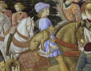 Florence. Palais Medici Riccardi. Chapelle. Gozzoli, Benozzo. Cortège des Rois Mages. Paroir de Melchior. Détail : Julien de Médicis. 1459 1460. Fresque.