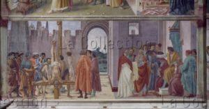 Florence. Eglise Santa Maria del Carmine. Chapelle Brancacci. Lippi, Filippino. Le Crucifiement de saint Pierre et la dispute avec Simon le Magicien. 1481 1485. Peinture murale.