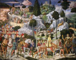 Florence. Palais Medici Riccardi. Chapelle. Gozzoli, Benozzo. Cortège des Rois Mages. Paroi de Gaspard. Vue d'ensemble. 1459 1460. Fresque.