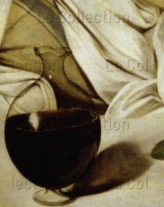 Caravage. Bacchus. Détail : carafe de vin. Vers 1598. Peinture. Florence. Musée des Offices.