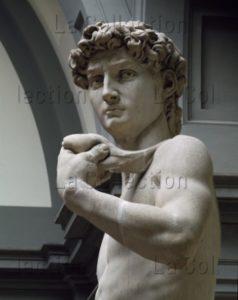 Michel Ange. David. Détail : buste et fronde (côté droit). 1504. Sculpture. Florence. Galerie de l'Académie.