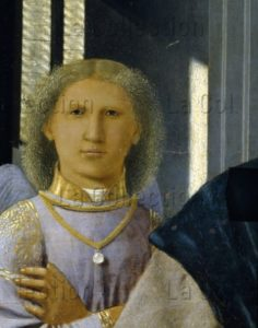 Piero della Francesca. La Madone de Senigallia. Détail : ange. Vers 1470. Peinture. Urbino. Gal. Naz. delle Marche.