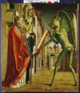 Pacher, Michael. Retable des Pères de l'Eglise. Panneau extérieur droit. Le diable et saint Augustin. Vers 1480. Peinture. Munich. Alte Pinakothek.