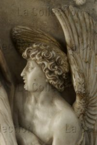 Kern, Leonhard. Le Christ de Pitié. Détail : buste de l'ange de droite. Vers 1614. Sculpture. Francfort/Main, Liebieghaus Skulpturensammlung.