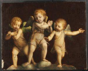 Luini, Bernardino (suiveur de). Trois putti. Début XVIe siècle. Peinture. Collection particulière.