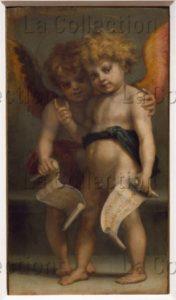 Andrea del Sarto. Pala Vallombrosana (retable de Vallombreuse). Deux Angelots avec des cartouches. 1528. Peinture. Florence, Musée des Offices.