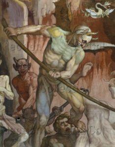 Florence. Eglise Sta Maria del Fiore. Coupole. Vasari, Giorgio. Le Jugement Dernier. Détail : démons des enfers. 1572 1579. Peinture murale.
