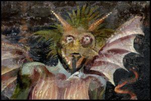 Art gothique. Albi. Cathédrale Ste Cécile. Choeur. Jugement dernier. Détail : diable. XVe siècle. Peinture murale.