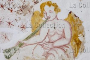 Corse. Erbajolo. Chapelle St Martin. Un ange musicien. Début XVIe siècle. Peinture murale.