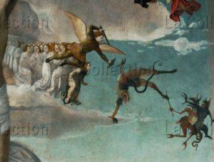 Lieferinxe, Josse. Le Calvaire. Détail : saint Michel luttant contre le démon. Vers 1500 1505. Peinture. paris. musée du Louvre.