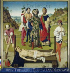 Bouts, Dirck. Triptyque du Martyre de saint Erasme. Panneau central. Le martyre de saint Erasme. Vers 1457 1464. Peinture. Louvain, Eglise St Pierre.