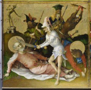 Lochner, Stephan. Les Martyres des apôtres. Détail : la mort de saint Simon et de saint Jude Thaddée. XVe siècle. Peinture. Francfort/Main. Städel Museum.