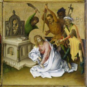 Lochner, Stephan. Les Martyres des apôtres. Détail : la mort de saint Matthieu. XVe siècle. Peinture. Francfort/Main. Städel Museum.