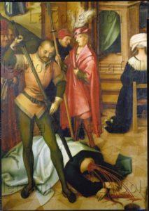 Holbein l'Ancien, Hans. Retable de la basilique St Paul hors les Murs. Détail : la décapitation de saint Paul. 1504. Peinture. Augsbourg, Staatsgalerie in der Katharinenkirche.