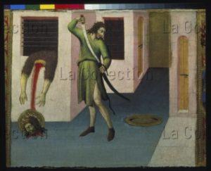 Sano di Pietro. La décapitation de saint Jean Baptiste. XVe siècle. Peinture. Moscou, Musée Pouchkine.