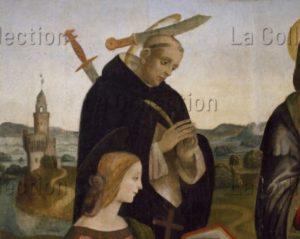 Lippi, Filippino (atelier). La Vierge à l'Enfant avec des saints. Début : saint Pierre Martyr. Début XVIe siècle. Peinture. Peccioli, Fabbrica, Eglise Sta Maria Assunta.