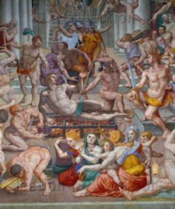 Florence. Eglise San Lorenzo. Bronzino. Le Martyre de saint Laurent. Détail : la scène de martyr. 1569. Peinture murale.
