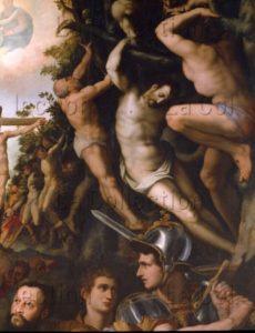 Allori, Alessandro. Les Martyres. Détail : mise en croix. 1574. Peinture. Florence. Eglise Santo Spirito.