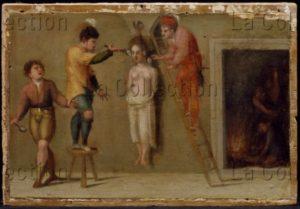 Alfani, Domenico di Paride. Retable des Moniales de sainte Julienne. Prédelle. Histoire de la vie de sainte Julienne. Détail : . 1532. Peinture. Pérouse, Galerie Nationale de l'Ombrie.