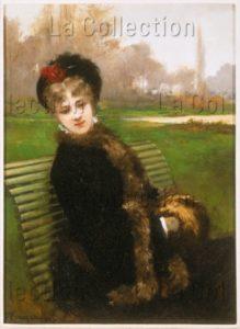 Rougeron, Jules James. Sur le banc du parc. Peinture. Fin XIXe siècle. Collection particulière.