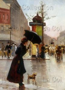 Garat, François. Scène de rue à Paris sous la pluie. 1890. Peinture. Collection particulière.