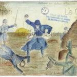 France. IIIe République. Première Guerre mondiale. L'attaque au plateau de Craonne Dessin. Paris, Musée de Montmartre.