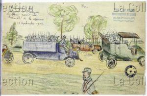 France. IIIe République. Première Guerre mondiale. Transport des troupes de l'armée de Paris pour la bataille de la Marne. 1914. Dessin. Paris, Musée de Montmartre.